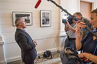 """1. Sitzungstag des Berliner """"Amri-Untersuchungsausschuss"""".<br /> Am Freitag den 14. Juli 2017 konstituierte sich der sogenannte """"Amri-Untersuchungsausschuss des Berliner Abgeordnetenhaus. Der 1. Untersuchungsausschuss der 18. Wahlperiode will versuchen die diversen Unklarheiten im Fall des Weihnachtsmarkt-Attentaeters zu klaeren.<br /> Im Bild: Hakan Tas, Obmann und Sprecher der Linkspartei im Ausschuss beim Interview.<br /> 14.7.2017, Berlin<br /> Copyright: Christian-Ditsch.de<br /> [Inhaltsveraendernde Manipulation des Fotos nur nach ausdruecklicher Genehmigung des Fotografen. Vereinbarungen ueber Abtretung von Persoenlichkeitsrechten/Model Release der abgebildeten Person/Personen liegen nicht vor. NO MODEL RELEASE! Nur fuer Redaktionelle Zwecke. Don't publish without copyright Christian-Ditsch.de, Veroeffentlichung nur mit Fotografennennung, sowie gegen Honorar, MwSt. und Beleg. Konto: I N G - D i B a, IBAN DE58500105175400192269, BIC INGDDEFFXXX, Kontakt: post@christian-ditsch.de<br /> Bei der Bearbeitung der Dateiinformationen darf die Urheberkennzeichnung in den EXIF- und  IPTC-Daten nicht entfernt werden, diese sind in digitalen Medien nach §95c UrhG rechtlich geschuetzt. Der Urhebervermerk wird gemaess §13 UrhG verlangt.]"""