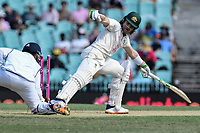 7th January 2021; Sydney Cricket Ground, Sydney, New South Wales, Australia; International Test Cricket, Third Test Day One, Australia versus India; Will Pucovski of Australia keeps his foot in the crease as Manish Pandey of India attempts a stumping