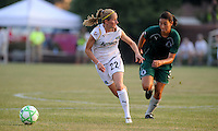 Manya Makoski, #22 moves past Stephanie Logterman..Saint Louis Athletica were defeated 2-1 by LA Sol, at Anheuser-Busch Soccer Park, Fenton, Missouri.