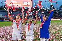 CARSON, CA - FEBRUARY 9: Lindsey Horan #9, Julie Ertz #8, and Megan Rapinoe #15 of the United States celebrate during a game between Canada and USWNT at Dignity Health Sports Park on February 9, 2020 in Carson, California.