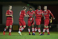 Ellis Brown of Hornchurch scores the first goal for his team and celebrates with his team mates during Hornchurch vs Wingate & Finchley, Pitching In Isthmian League Premier Division Football at Hornchurch Stadium on 6th October 2020