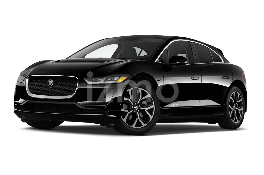 Stock pictures of low aggressive front three quarter view of 2020 Jaguar I-PACE HSE 5 Door SUV Low Aggressive