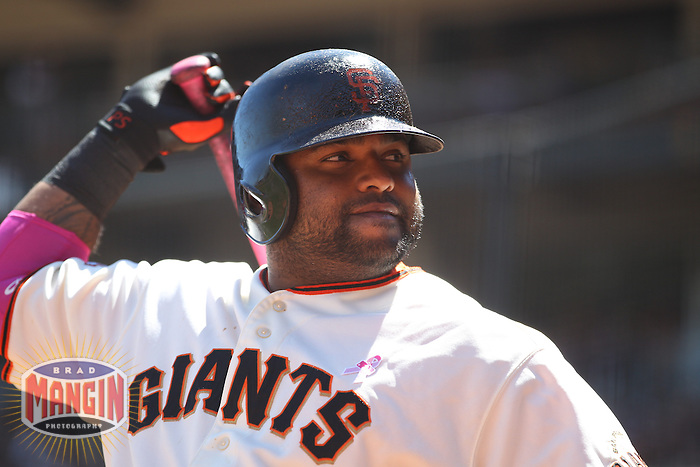 SAN FRANCISCO, CA - MAY 12:  Pablo Sandoval #48 of the San Francisco Giants waits in the on deck circle with a pink bat in honor of Mother's Day and breast cancer awareness against the Atlanta Braves during the game at AT&T Park on Sunday, May 12, 2013 in San Francisco, California. Photo by Brad Mangin