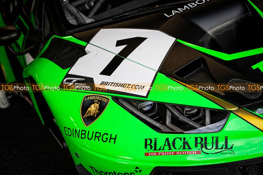 The front livery of Adam Balon & Sandy Mitchell, Lamborghini Huracan GT3 EVO, Barwell Motorsport during the British GT & F3 Championship on 11th July 2021