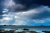 Storm Clouds over Belhaven Bay, Bass Rock and North Berwick Law from the John Muir Way, John Muir Country Park, Dunbar, East Lothian