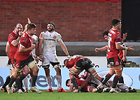 26th March 2021; Kingsholm Stadium, Gloucester, Gloucestershire, England; English Premiership Rugby, Gloucester versus Exeter Chiefs; Charlie Chapman of Gloucester scores a try and Gloucester celebrate