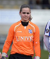 20140315 - WESTERLO , BELGIUM : Heerenveen goalkeeper Devi Venema pictured during the soccer match between the women teams of SK Lierse Dames  and SC Heerenveen Vrouwen , on the 19th matchday of the BeNeleague competition Saturday 15 March 2014 in Westerlo . PHOTO DAVID CATRY