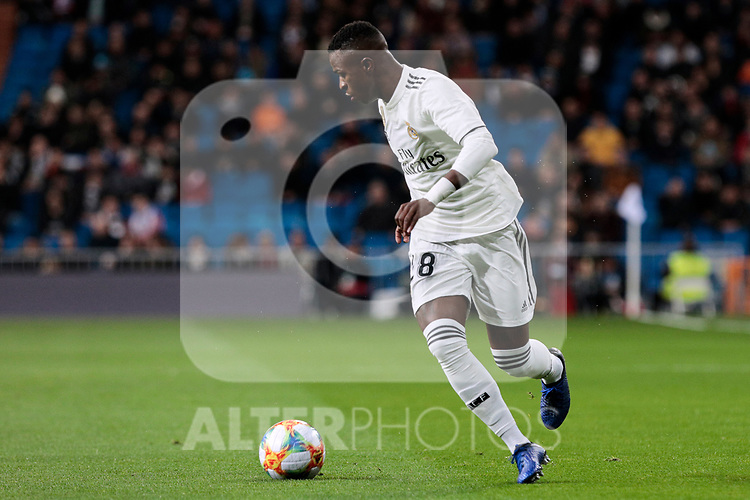 Real Madrid's Vinicius Jr. during Copa del Rey match between Real Madrid and Girona FC at Santiago Bernabeu Stadium in Madrid, Spain. January 24, 2019. (ALTERPHOTOS/A. Perez Meca)