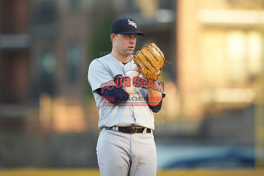 Scranton/Wilkes-Barre RailRiders starting pitcher Michael King (26) looks to his catcher for the sign against the Gwinnett Stripers at Coolray Field on August 16, 2019 in Lawrenceville, Georgia. The Stripers defeated the RailRiders 5-2. (Brian Westerholt/Four Seam Images)
