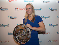 Amsterdam, Netherlands, December 12, 2016, Harbour Club, Tennisser van het Jaar,  Kiki Bertens recieves the Betty Stove trophy for best tennis player of 2016<br /> Photo: Tennisimages/Henk Koster