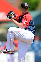 Portland Sea Dogs pitcher Keith Couch #25  during a game versus the Altoona Curve at Hadlock Field in Portland, Maine on June 2, 2013. (Ken Babbitt/Four Seam Images)
