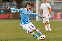 Melbourne, 21 July 2015 - David Silva of Manchester City kicks the ball in game two of the International Champions Cup match at the Melbourne Cricket Ground, Australia. City def Roma 5-4 in Penalties. (Photo Sydney Low / AsteriskImages.com)