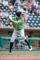 Gwinnett Stripers center fielder Peter Bourjos (5) at bat during a game against the Columbus Clippers on May 17, 2018 at Huntington Park in Columbus, Ohio.  Gwinnett defeated Columbus 6-0.  (Mike Janes/Four Seam Images)