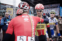 Defending and Belgian Champion Jens Debusschere (BEL/Lotto-Belisol) wins for 2nd year in a row and is congratulated by teammates<br /> <br /> Sluitingsprijs Putte-Kapellen 2014