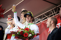 podium beer for Michael Matthews (AUS/Orica-GreenEDGE)<br /> <br /> 50th Amstel Gold Race 2015