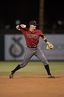 AZL Diamondbacks shortstop Alex King (9) makes a throw to first base during an Arizona League game against the AZL Angels at Tempe Diablo Stadium on June 27, 2018 in Tempe, Arizona. The AZL Angels defeated the AZL Diamondbacks 5-3. (Zachary Lucy/Four Seam Images)