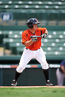 GCL Orioles third baseman Garrett Copeland (15) squares to bunt during a game against the GCL Red Sox on August 16, 2016 at the Ed Smith Stadium in Sarasota, Florida.  GCL Red Sox defeated GCL Orioles 2-0.  (Mike Janes/Four Seam Images)