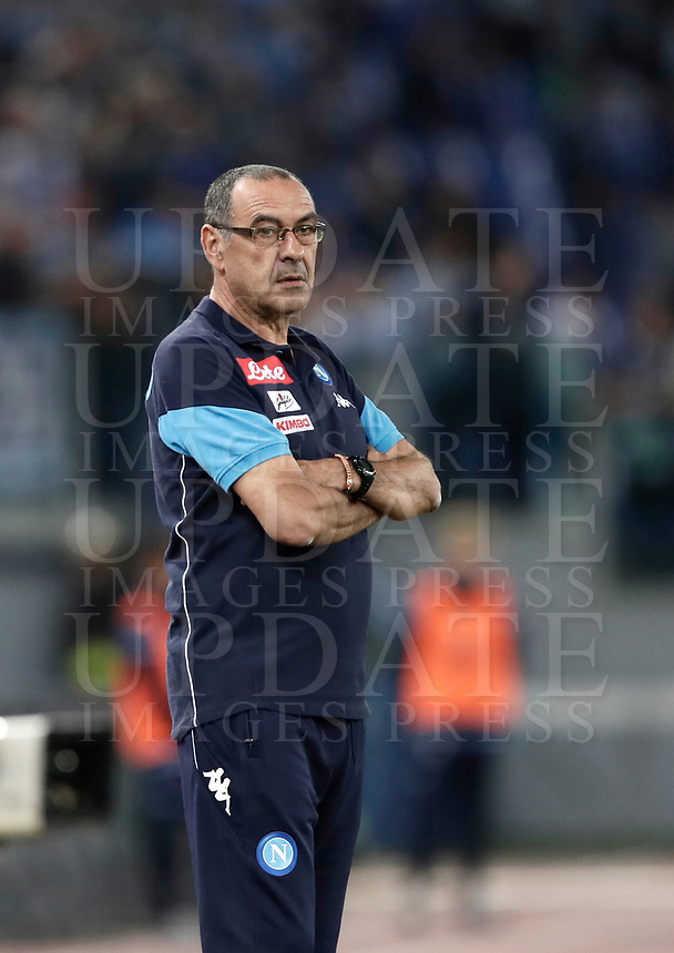 Calcio, Serie A: Roma, stadio Olimpico, 20 settembre 2017.<br /> Napoli's coach Maurizio Sarri looks on during the Italian Serie A football match between Lazio and Napoli at Rome's Olympic stadium, September 20, 2017.<br /> UPDATE IMAGES PRESS/Isabella Bonotto