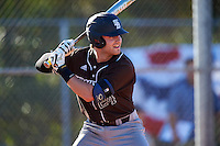 St. Bonaventure Bonnies third baseman David Hollins (24) at bat during a game against the Dartmouth Big Green on February 25, 2017 at North Charlotte Regional Park in Port Charlotte, Florida.  St. Bonaventure defeated Dartmouth 8-7.  (Mike Janes/Four Seam Images)