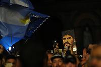 A portrait of Maradona shown by supporters <br /> Napoli 05-07-2017  Napoli Piazza del Plebiscito<br /> Evento per il conferimento della cittadinanza onoraria a Diego Armando Maradona da parte del Comune di Napoli.<br /> Honorary Citizenship to Diego Armando Maradona<br /> By the City of Naples.<br /> Foto Cesare Purini / Insidefoto