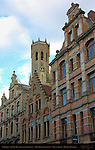 Baroque and Neo-Renaissance Buildings and Belfort Bell Tower, Steenstraat, Bruges, Brugge, Belgium
