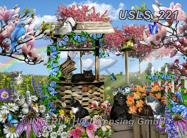 Lori, REALISTIC ANIMALS, REALISTISCHE TIERE, ANIMALES REALISTICOS, zeich, paintings+++++Kitties On Farm_New,USLS221,#a#, EVERYDAY ,puzzle,puzzles
