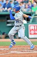 Southern Divisions designated hitter Nick Pratto (26) of the Lexington Legends swings at a pitch during the South Atlantic League All Star Game at First National Bank Field on June 19, 2018 in Greensboro, North Carolina. The game Southern Division defeated the Northern Division 9-5. (Tony Farlow/Four Seam Images)