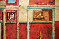 Roman fresco wall decorations of Bedroom D  of the Villa Farnesia, Rome. Museo Nazionale Romano ( National Roman Museum), Rome, Italy.<br /> <br /> This bedroom has a decoration very similar to that of cubiculum B in its arrangement and the use of cinnabar red. At the rear of the alcove three women perform a sacrificial ceremony in a rustic shrine. The walls of the antechamber have scenes of lovers, and most of the other pictures have to do with female life. Here carefully rendered details (attendants, handmaidens, furniture, glass and silver vessels) provide invaluable information on domestic life. There are also Egyptianizing elements, lotus flowers, sphinxes, and exotic landscapes. On the second column of the right wall is the inscription, in Greek, Seleukos made this, presumably the name of a Greek who was one of the artisans. The vaulted ceiling, in pure white stucco, has reliefs of initiation rites into the mysteries, idyllic landscapes with sacred elements, and combats between fantastic animals. The decorative scheme of the two bedrooms owes its inspiration to the deities Aphrodite and Dionysos. A fragment of geometric mosaic in black and white can be attributed to bedroom D on the basis of a contemporary watercolor.