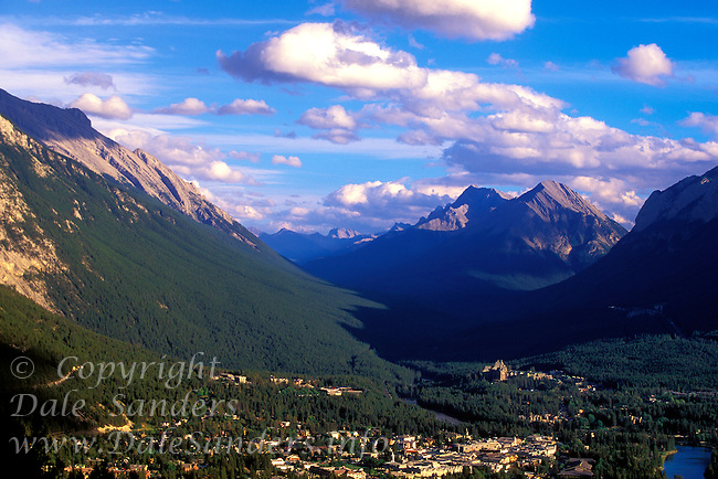 View from mountain, of the town of Banff, Banff National Park, Alberta, Canada.