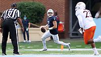 CHAPEL HILL, NC - OCTOBER 10: Sam Howell #7 of North Carolina rolls out of the pocket during a game between Virginia Tech and North Carolina at Kenan Memorial Stadium on October 10, 2020 in Chapel Hill, North Carolina.