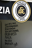 the Spezia incitement sign on the way out of the locker room is seen during the Serie A football match between Spezia Calcio and Udinese Calcio at Alberto Picco stadium in La Spezia (Italy), September 12th, 2021. Photo Andrea Staccioli / Insidefoto