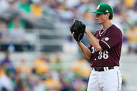 Mississippi State starting pitcher Nick Routt #36 looks in for a sign during the  NCAA baseball game against the LSU Tigers on March 17, 2012 at Alex Box Stadium in Baton Rouge, Louisiana. The 10th-ranked LSU Tigers beat #21 Mississippi State, 4-3. (Andrew Woolley / Four Seam Images)