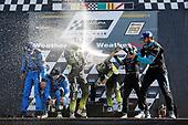 #86 Meyer Shank Racing w/ Curb-Agajanian Acura NSX GT3, GTD: Mario Farnbacher, Trent Hindman, #14 AIM Vasser Sullivan Lexus RC F GT3, GTD: Richard Heistand, Jack Hawksworth, #48 Paul Miller Racing Lamborghini Huracan GT3, GTD: Bryan Sellers, Ryan Hardwick, podium, champagne