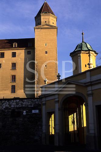 Bratislava, Slovakia. One corner tower and entrance gate of Bratislava Castle.