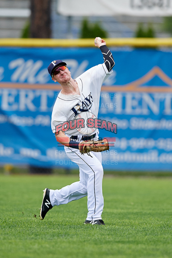 Princeton Rays center fielder Grant Witherspoon (5) throws from the outfield during the first game of a doubleheader against the Greeneville Reds on July 25, 2018 at Hunnicutt Field in Princeton, West Virginia.  Princeton defeated Greeneville 6-4.  (Mike Janes/Four Seam Images)