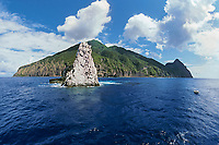 Saba Island and Diamond Rock - a pinnacle that reaches from 60 feet below the surface to 80 feet above it, Netherlands Antilles, Caribbean Sea, Atlantic Ocean