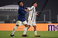 Paulo Dybala of Juventus FC celebrates with Weston McKennie at the end of the Serie A football match between Juventus FC and Udinese Calcio at Juventus stadium in Torino  (Italy), January, 3rd 2021.  Photo Federico Tardito / Insidefoto