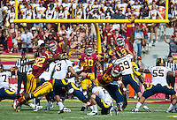 LOS ANGELES, CA - September 22, 2012:  The USC Trojans vs the Cal Bears at the Los Angeles Memorial Coliseum in Los Angeles, CA. Final score USC 27, Cal 9..