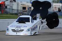 May 21, 2011; Topeka, KS, USA: NHRA funny car driver Melanie Troxel during the Summer Nationals at Heartland Park Topeka. Mandatory Credit: Mark J. Rebilas-