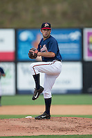 Danville Braves relief pitcher Cameron Stanton (32) in action against the Pulaski Yankees at American Legion Post 325 Field on July 31, 2016 in Danville, Virginia.  The Yankees defeated the Braves 8-3.  (Brian Westerholt/Four Seam Images)