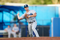 Tampa Tarpons third baseman Mandy Alvarez (3) throws to first base during a game against the Dunedin Blue Jays on June 2, 2018 at Dunedin Stadium in Dunedin, Florida.  Dunedin defeated Tampa 4-0.  (Mike Janes/Four Seam Images)