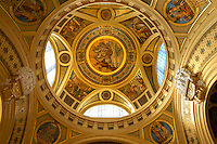 Entrance Hall roof of the largest medicinal thermal baths in Europe. The Neo baroque Szechenyi baths, City Park, budapest, Hungary