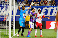 Harrison, NJ - Wednesday Aug. 03, 2016: Cristian Alvarez, Jose Pinto Samayoa,Shaun Wright-Phillips during a CONCACAF Champions League match between the New York Red Bulls and Antigua at Red Bull Arena.