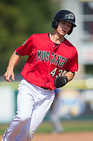 Stuart Fairchild (43) of the Billings Mustangs hustles around third base during the game against the Missoula Osprey at Dehler Park on August 20, 2017 in Billings, Montana.  The Osprey defeated the Mustangs 6-4.  (Brian Westerholt/Four Seam Images)