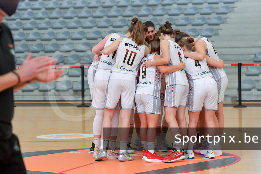 team Belgium pictured before a basketball game between the national teams of Belgium , called the Belgian Cats , and Serbia on Friday 28 th of May 2021 in Kortrijk , Belgium . PHOTO SPORTPIX.BE   SPP   STIJN AUDOOREN