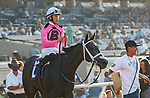 DEL MAR, CA  SEPTEMBER 5: #10 Liam's Dove, ridden by Kyle Frey,  after winning the Del Mar Juvenile Fillies Turf on September 5, 2021 at Del Mar Thoroughbred Club in Del Mar, CA. (Photo by Casey Phillips/Eclipse Sportswire/CSM)