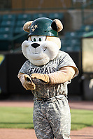 Jackson Generals mascot Sarge prior to a Southern League game against the Biloxi Shuckers on June 14, 2019 at The Ballpark at Jackson in Jackson, Tennessee. Jackson defeated Biloxi 4-3. (Brad Krause/Four Seam Images)