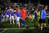 COLUMBUS, OH - NOVEMBER 07: Carli Loyd #10 of the United States walks out with the ball kids during a game between Sweden and USWNT at MAPFRE Stadium on November 07, 2019 in Columbus, Ohio.