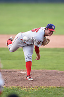Auburn Doubledays pitcher Chase McDowell (25) delivers a pitch during a game against the Batavia Muckdogs on August 31, 2014 at Dwyer Stadium in Batavia, New York.  Batavia defeated Auburn 7-6.  (Mike Janes/Four Seam Images)