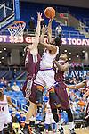 Texas-Arlington Mavericks guard Lonnie McClanahan (22) in action during the game between the Arkansas Little Rock Trojans and the Texas Arlington Mavericks at the College Park Center arena in Arlington, Texas. UALR defeats UTA 72 to 70.